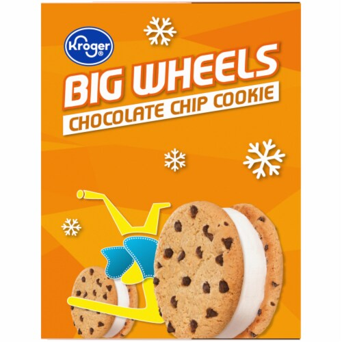 Kroger® Big Wheels Vanilla and Chocolate Chip Round Ice Cream Sandwiches Perspective: left