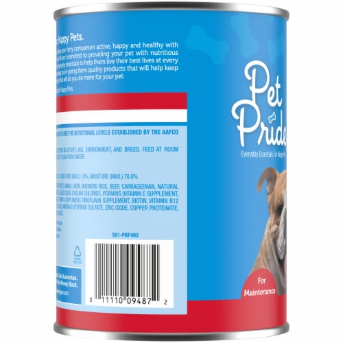 Pet Pride Chopped Ground Dinner with Beef Perspective: left
