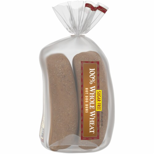 Western Hearth® Sugar Free 100% Whole Wheat Extra Large Hot Dog Buns Perspective: left