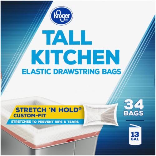 Kroger® Clean Linen Scent Tall Kitchen 13 Gallon Elastic Drawstring Trash Bags Perspective: left