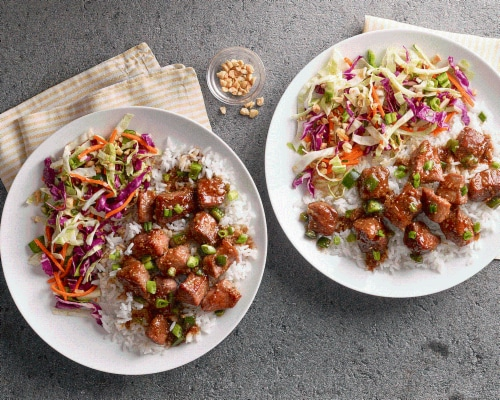 Prep+Pared Meal Kit Vietnamese-Inspired Spicy Lemongrass Pork with Coconut Rice & Cabbage Salad Perspective: left