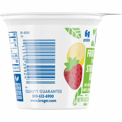 Kroger® Strawberry Banana Fruit on the Bottom Lowfat Yogurt Perspective: left