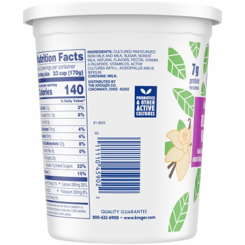 Kroger® Blended Vanilla Lowfat Yogurt Perspective: left