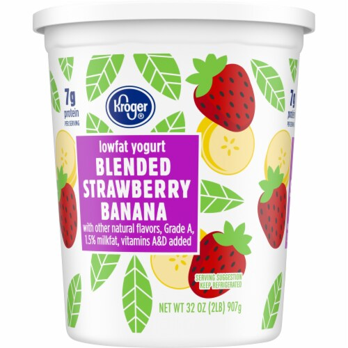 Kroger® Blended Strawberry Banana Lowfat Grade A Yogurt Perspective: left
