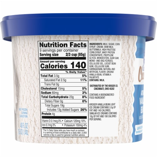 Kroger® Deluxe Churned Artisan Vanilla Bean Light Ice Cream Perspective: left