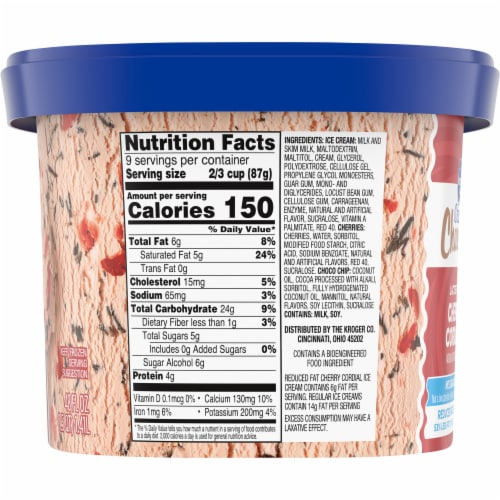 Kroger® Deluxe Churned Reduced Fat Lactose Free Cherry Cordial Ice Cream Perspective: left