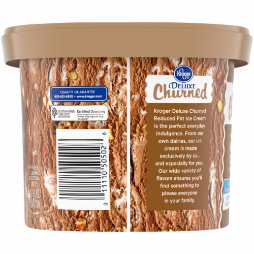 Kroger® Deluxe Churned Lactose Free No Sugar Added Reduced Fat Rocky Road Ice Cream Perspective: left