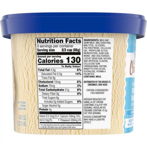Kroger® Deluxe Churned Lactose Free No Sugar Added Reduced Fat Vividly Vanilla Ice Cream Perspective: left
