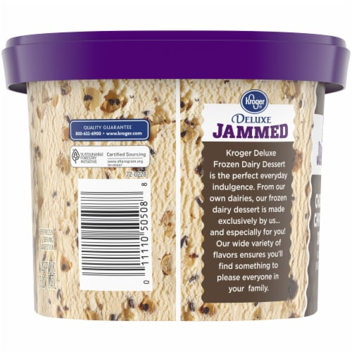 Kroger Deluxe Jammed Chocolate Chip Cookie Dough Ice Cream Perspective: left