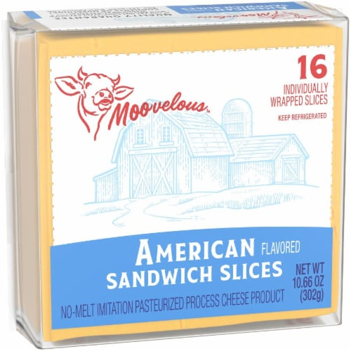 Moovelous American Cheese Sandwich Slices Perspective: left