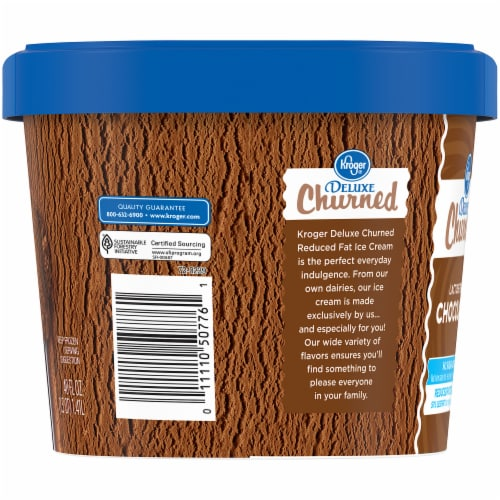Kroger® Deluxe Churned Lactose Free Chocolate Reduced Fat Ice Cream Perspective: left