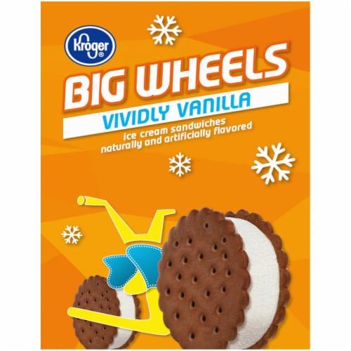Kroger® Big Wheels Vividly Vanilla Ice Cream Sandwiches 6 Ct Box Perspective: left
