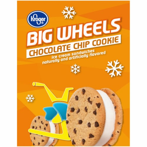 Kroger® Big Wheels Chocolate Chip Cookie Ice Cream Sandwiches Perspective: left