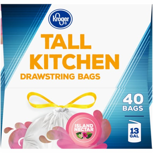Kroger® Island Nectar Scented 13 Gallon Tall Kitchen Drawstring Trash Bags Perspective: left
