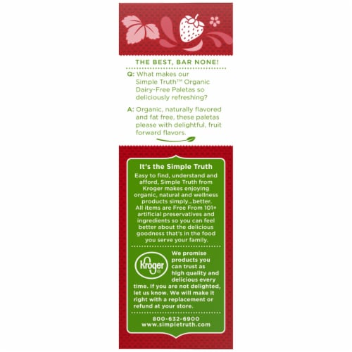 Simple Truth Organic™ Dairy-Free Strawberry Paletas Fruit Bars Perspective: left