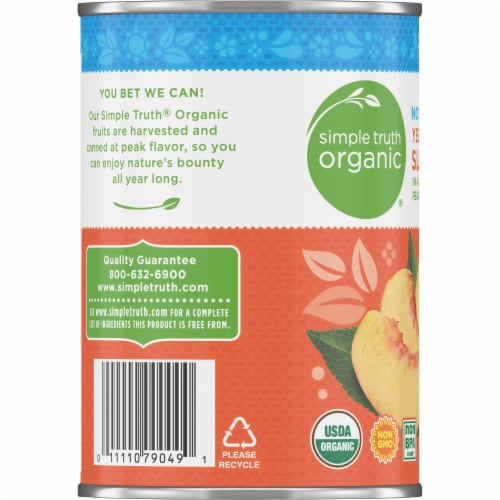 Simple Truth Organic™ No Sugar Added Yellow Cling Sliced Peaches Perspective: left