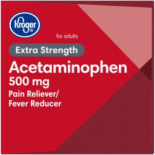 Kroger® Extra Strength Acetaminophen Pain Relief Caplets 500mg Perspective: left