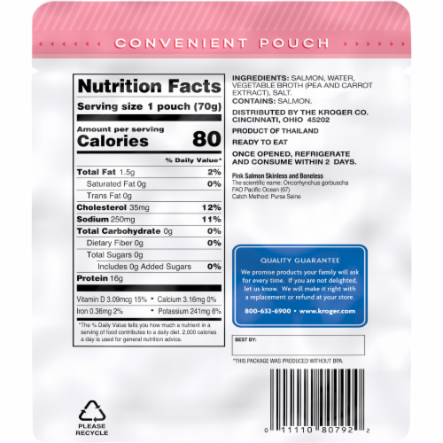 Kroger® Wild Caught Skinless & Boneless Pink Salmon Pouch Perspective: left