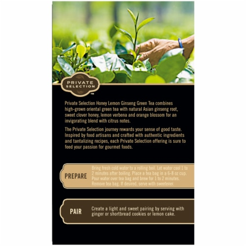 Private Selection™ Honey Lemon Ginseng Green Tea Bags Perspective: left
