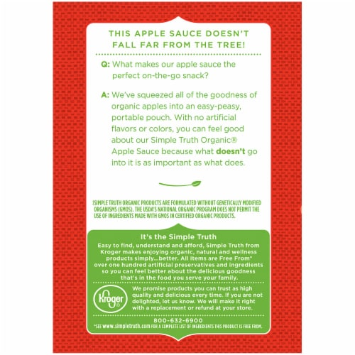 Simple Truth Organic® Unsweetened & Cinnamon Applesauce Variety Pack Perspective: left