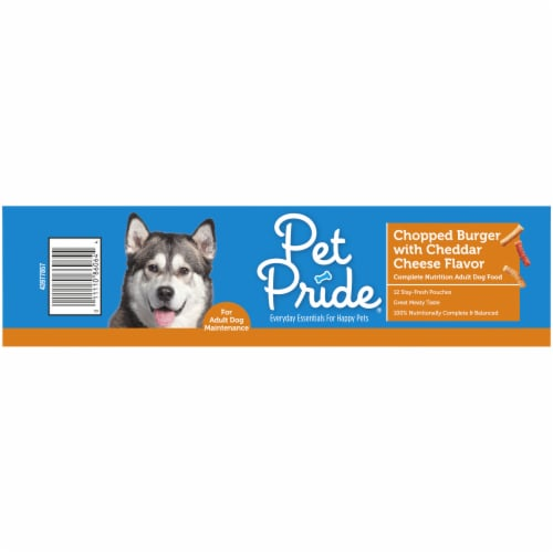 Pet Pride Chopped Burger with Cheddar Cheese Flavor Adult Dry Dog Food Perspective: left