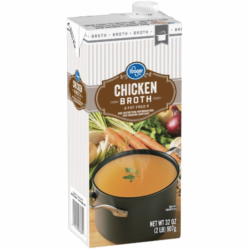 Kroger® 99% Fat Free Chicken Broth Perspective: left