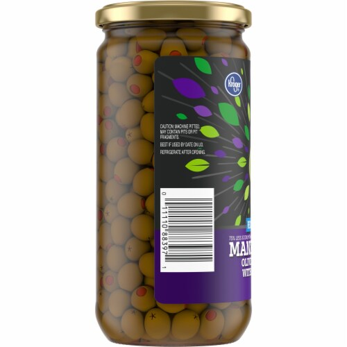 Kroger® Gluten Free Reduced Sodium Manzanilla Olives Stuffed With Pimiento Perspective: left