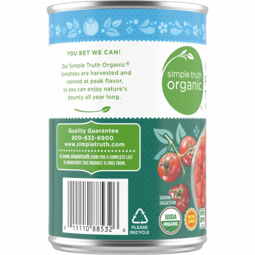 Simple Truth Organic™ No Salt Added Petite Diced Tomatoes Perspective: left