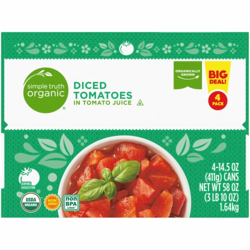 Simple Truth Organic® No Salt Added Diced Tomatoes Perspective: left