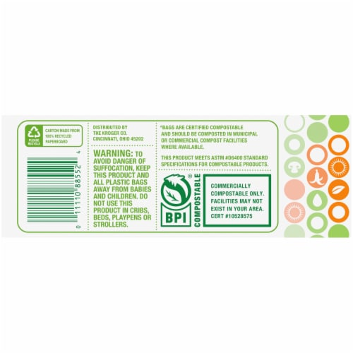 Simple Truth™ Tall 13 Gallon Compostable Kitchen Trash Bags Perspective: left