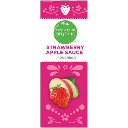 Simple Truth Organic® Strawberry Applesauce Pouches 4 Count Perspective: left