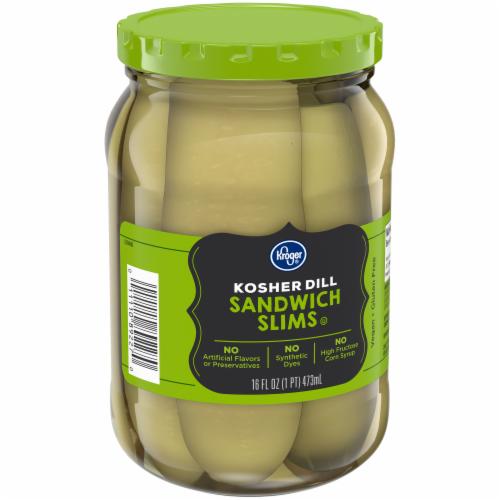 Kroger® Kosher Sandwich Slims Dill Pickles Perspective: left