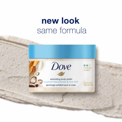 Dove Crushed Macadamia & Rice Milk Exfoliating Body Polish Perspective: left
