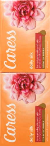 Caress White Peach & Orange Blossom Daily Silk Beauty Bars Perspective: left