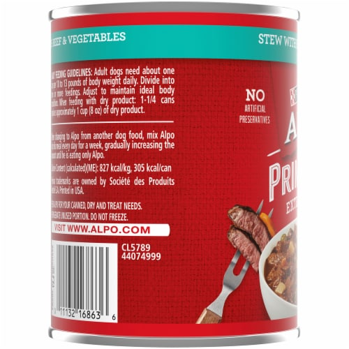Purina Alpo Prime Cuts Stew with Beef & Vegetables in Gravy Wet Dog Food Perspective: left
