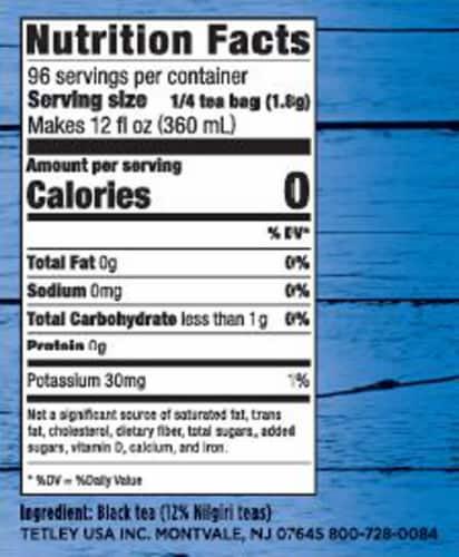Tetley Iced Tea Blend Tea Bags Family Size Perspective: left