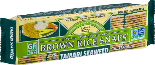 Edward & Sons Tamari Seaweed Brown Rice Snaps Perspective: left