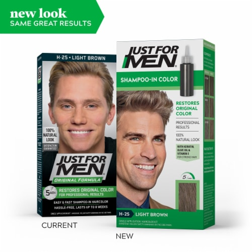 Just For Men H-25 Light Brown Shampoo-In Hair Color Treatment Perspective: left