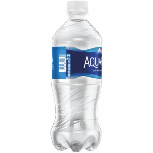 Aquafina Purified Bottled Water Bottle Perspective: left