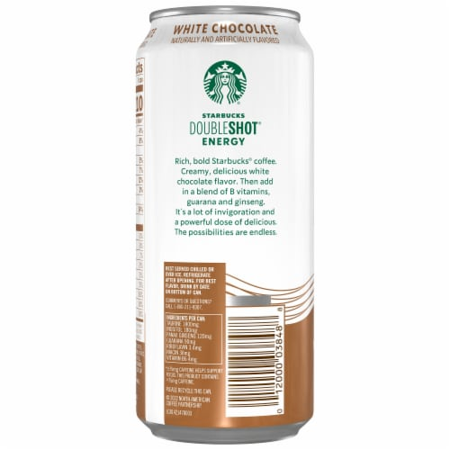 Starbucks Doubleshot Energy Drink White Chocolate Iced Coffee Perspective: left