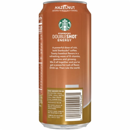 Starbucks Doubleshot Energy Drink Hazelnut Iced Coffee Perspective: left