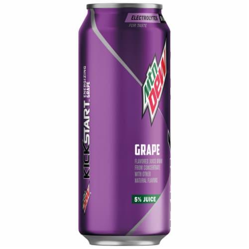 Mountain Dew Kickstart Midnight Grape Energy Drink Can Perspective: left