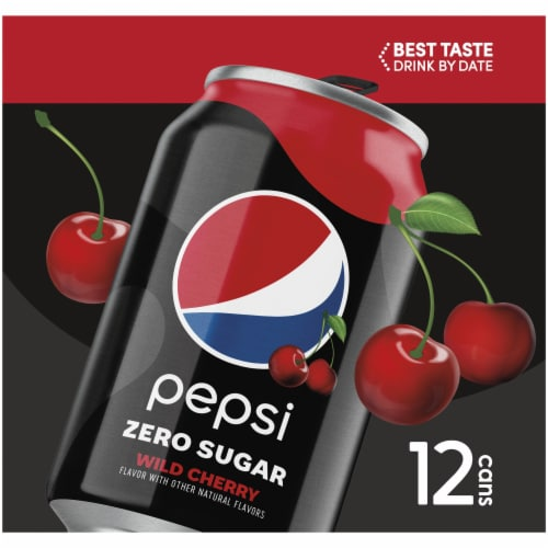 Pepsi Cola Zero Sugar Wild Cherry Soda Perspective: left