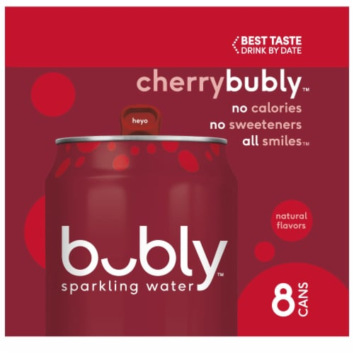 bubly Sparkling Water Cherry 8 Pack Perspective: left