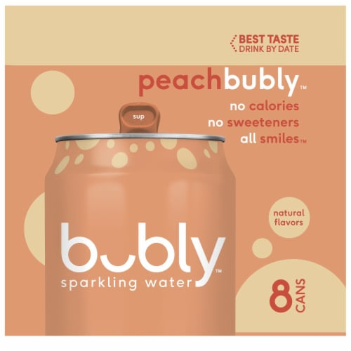 bubly Sparkling Water Peach 8 Pack Perspective: left