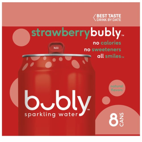bubly Sparkling Water Strawberry 8 Pack Perspective: left