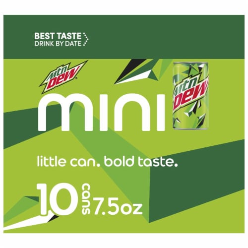 Mountain Dew Soda Mini Cans Perspective: left