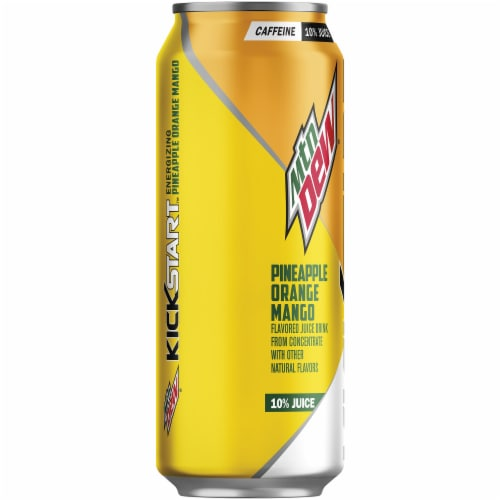 Mountain Dew Kickstart Pineapple Orange Mango Energy Drink 16 oz Can Perspective: left