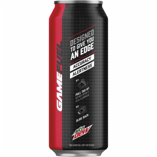 Mountain Dew Game Fuel Charged Cherry Burst Energy Drink Perspective: left