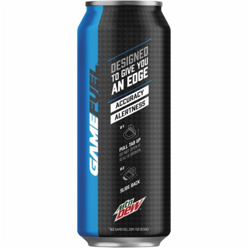Mountain Dew Game Fuel Charged Berry Blast Energy Drink Perspective: left